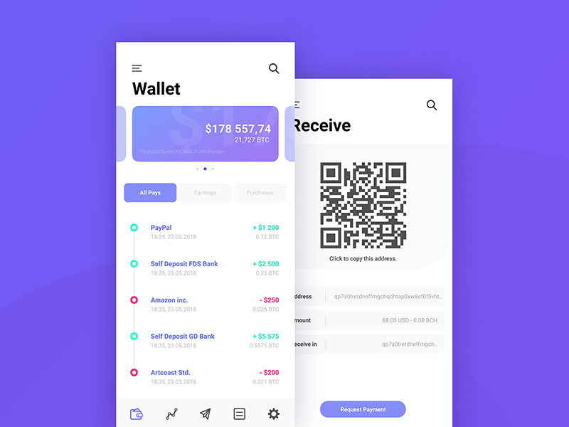 Bitcoin Wallet figma cash cryptocurrency crypto ripple qr ux ui money ethereum wallet bitcoin