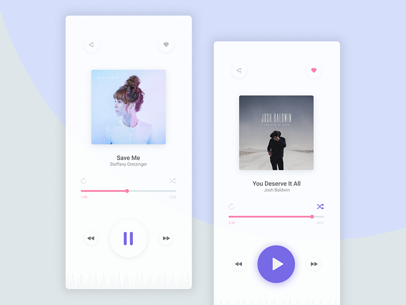 Music Player share icons loop play interface song player music ux ui