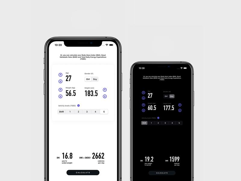 BMI/BMR BURN appstore calculator tdee bmr bmi ios mobile appdesign userinterface userexperience uiux app ux ui