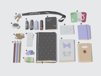 What's in my bag vector illustration