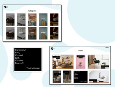 furniture category ui design