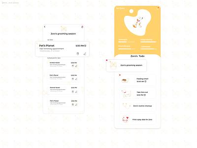 Pet Care App ux design ui design ux mobile ui minimal pets icon typography illustrator 2d illustration ui app
