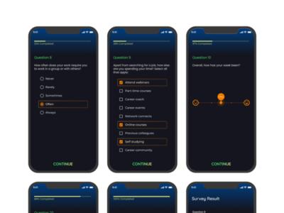 Survey App UI design dark mode survey mobile app design ui