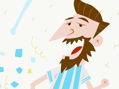 Messi cartoon sixties 60s flat ilustration retro