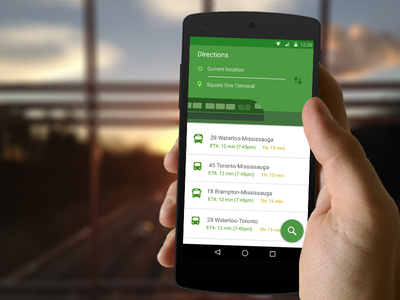 GO Transit Search Screen for Android material destination search transit lollipop android bus train ux ui toronto go