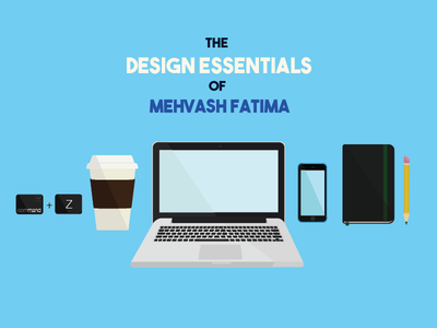 Design Essentials cellphone iphone macbook laptop pencil sketchbook coffee icon set icons illustration flat design