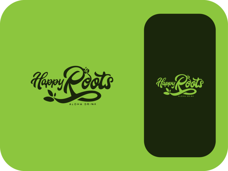 HappyRoots - Aloha Drink hand drawn leaves nature green roots happy aloha drink modern logo minimal branding