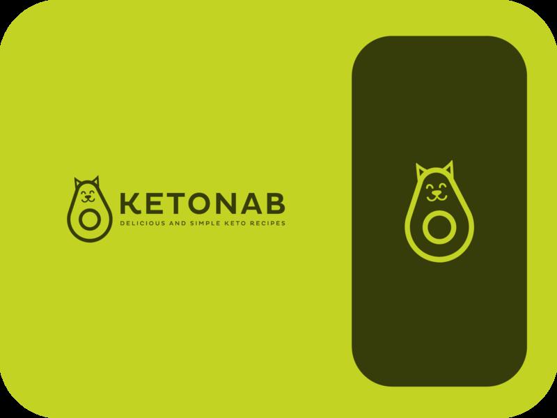 Ketonab delicous vegan pure ketogenic healthy smile cat avocado keto modern logo minimal branding