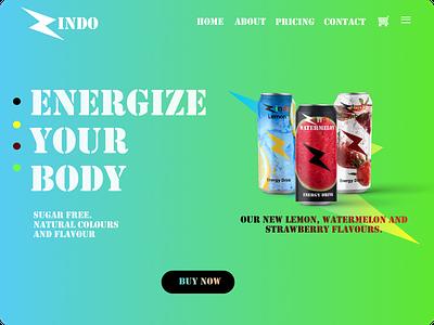 Energy Drink Landing Page website web branding product design mockup ux ui design