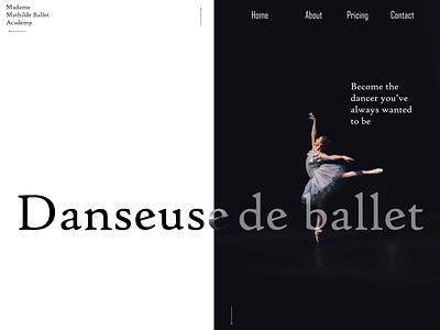 Ballet Academy Landing Page branding minimal ui ux design