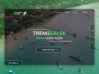 Trenggalek City Of Alen - Alen clean minimal flat logo typography colorful clean ui landmarks uidesign simple design landingpage