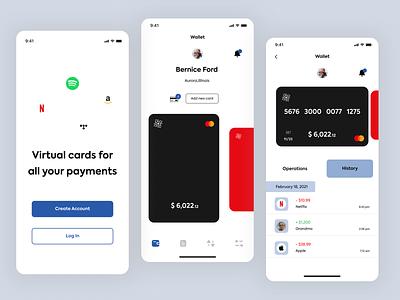 Wallet App Design clean icon typography branding flat ux ui minimal design app