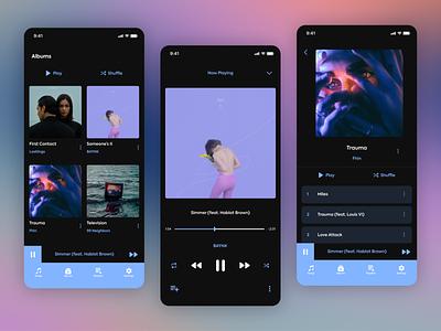 Music Player UI design art music streaming app clean flat ui ux minimal design app music app music player