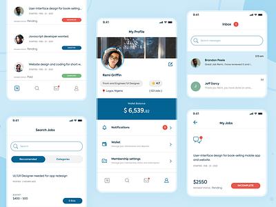 Freelancing app UI design jobs message wallet profile ui design freelancer design app clean minimal flat ux ui