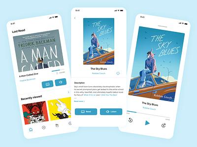 Book reading app UI Design homepage illustration clean flat ux ui minimal design app book book cover