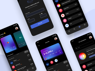 Subscription tracker 1 debit card credit card finance app fintech banking clean minimal flat ux ui design app