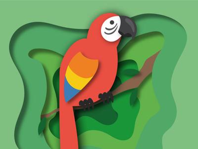 Parrot Cut out paper tropical parrot papercut vector