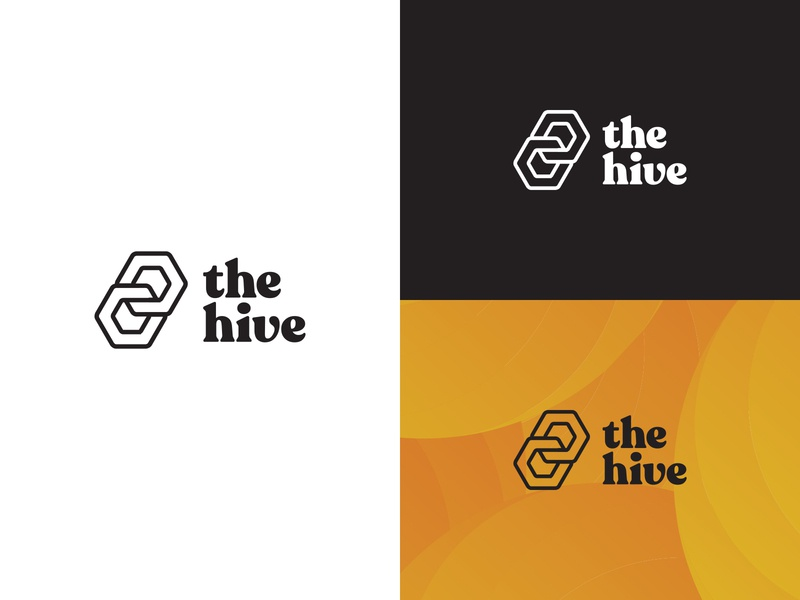 Final Logo Design for The Hive colorful blackandwhite typography monogram logo brand creation logo design illustration brand design brand identity logo graphic design branding