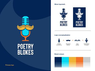 Poetry Blokes Podcast Brand Summary podcast cover podcast logo podcast colorful monogram logo graphic design brand identity logo design logo brand design branding