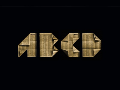 ABCD folded origami fold lettering typography type