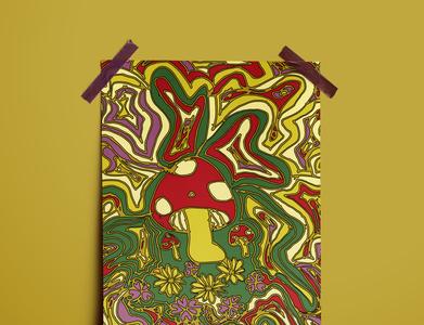 Fungi & Floral florals flower retro design colourful retro plants plant illustration mushroom fungi poster art poster illustration art illustration abstract