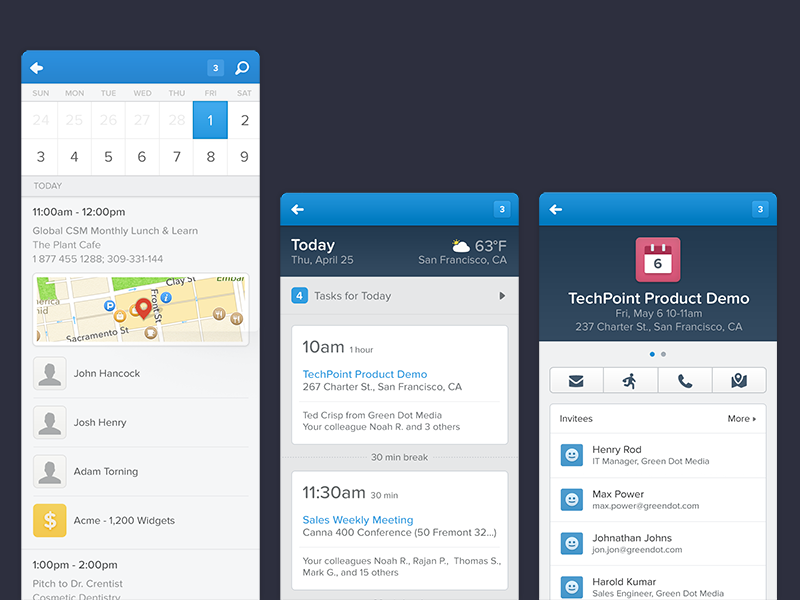 Salesforce1 - Today view ios salesforce enterprise app device iphone ui ux blue today calendar