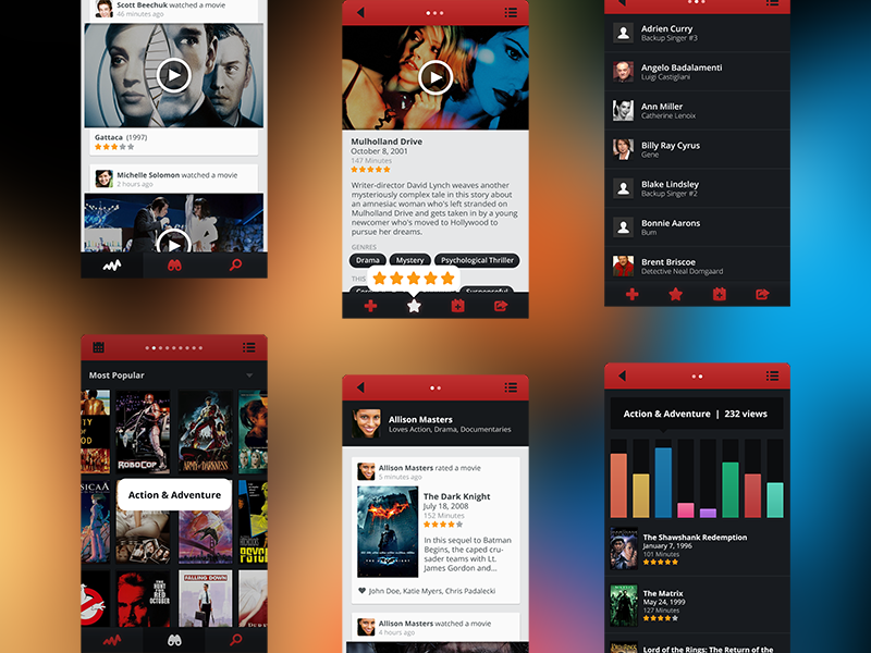 Netflix/Facebook ios app device iphone ui ux red black netflix facebook