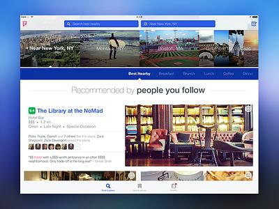 Foursquare for iPad landscape photos foursquare blue interface home explore ux ui ipad ios app