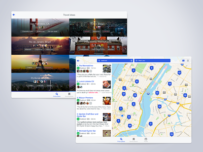 Foursquare iPad Travel and Map results explore discovery photos travel ipad ux ui app ios