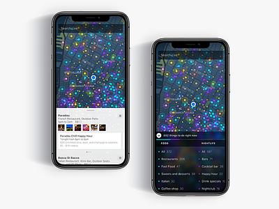 Live dark map dots dark ui legend colors dark map visuals ux ui iphone x ios
