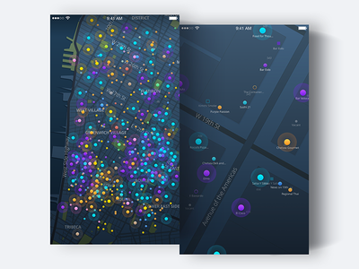 Live: Map events vivid iphone ios visuals ux ui dots dark colors map