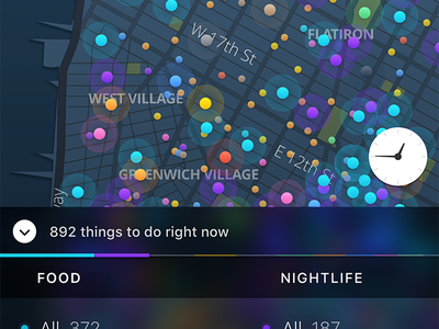 Live: Legend colors mobile ios ui ux time drawer filter dots dark map