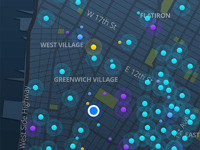Live: Search tags ux ui ios filter map search dots dark colors color