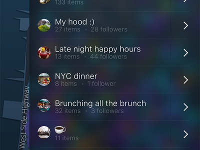 Live: Saved Lists mobile ux ui ios lists list map drawer dots dark colors color