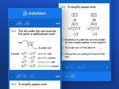 Socratic: Math stepper color blue education fun homework ios math mobile nav teens ui ux