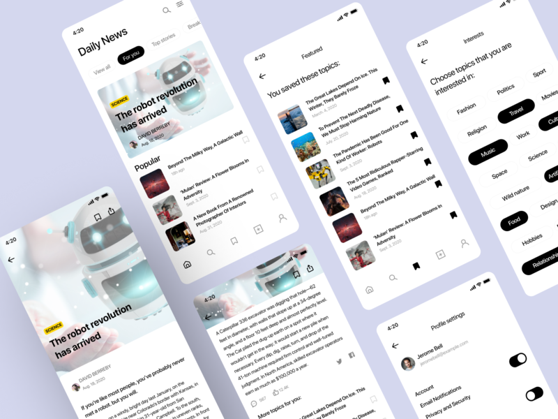 News  app ui mobile app design mobile ios design app