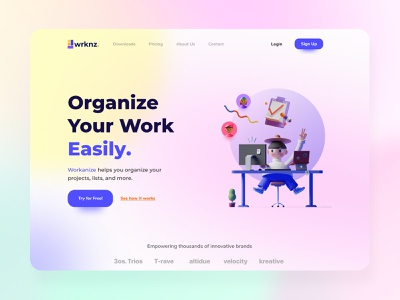 Workanize - Hero Section Exploration web design web ux ui figmadesign figma design