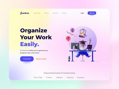 Workanize - Hero Section Exploration web design web ux ui figmadesign figma design