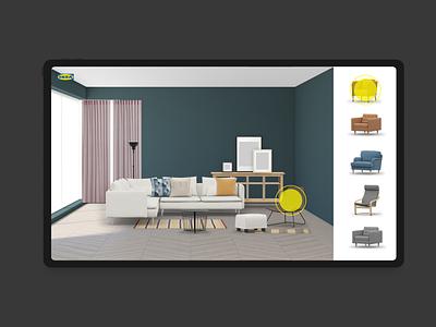 Room Builder ipad ui tablet living room concept