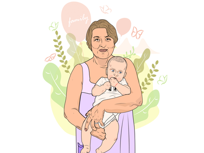 Family butterfly pastel colors flat animation icon vector adobe illustrator draw illustrator portrait graphic design art grandma grandmother family portrait family