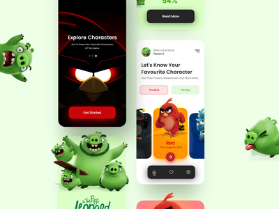 Angry Birds Guide App angry birds app guide birds angry birds app app design web design uxdesign adobe adobe xd ux animation motion graphics graphic design ui