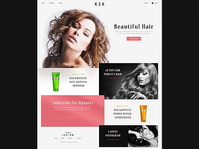 KER Homepage  beauty art direction design hair website branding animation flat illustration ux ui web design
