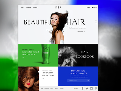 KER Homepage Update  art direction design hair website branding animation flat illustration ux ui web design