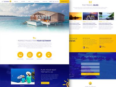 Travel Portal Homepage art direction design getaway website branding animation flat travel ux ui web design