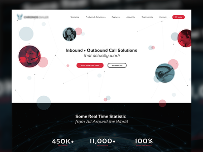 Homepage for Call-center Solutions Company black motion art direction design website branding animation flat illustration ux ui web design