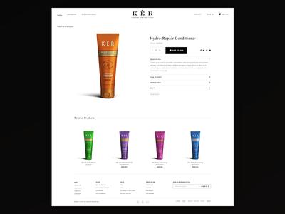 KER Product Page shop design ecommerce website branding product black ux ui app