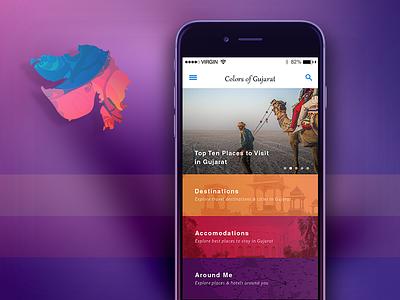 iOS App Design - Colors Of Gujurat  ux dashboard mobile ios app animation app iphone ui