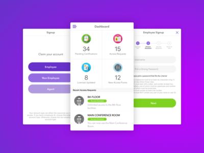 Enterprise iPhone Application ui ux app ios mobile dashboard cards