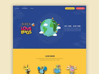 Believe in Love Bugs - Homepage branding location illustration clean design ux ui app card website