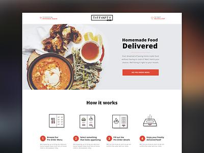 Tiffinity Landing Page branding illustration icon startup app design website landing ux ui